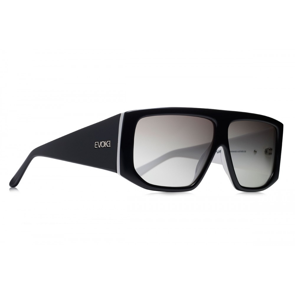 Óculos de Sol Evoke EVK 11 BLACK WHITE SILVER GRAY TOTAL (LENTE TOTAL) 216a631ed2