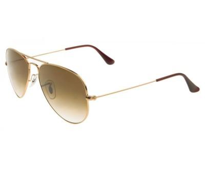 Óculos de Sol RAY BAN Aviador RB 3025 001/51 Tam: 55, 58 e 62   Dourado e lentes marrons